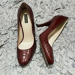 Joan & David Burgundy Patent Leather Oxford Pump
